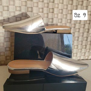 NWOT A New Day Silver Junebug Mules Flats  9